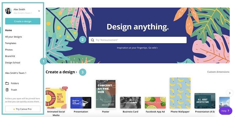 canva công cụ thiết kế name card online