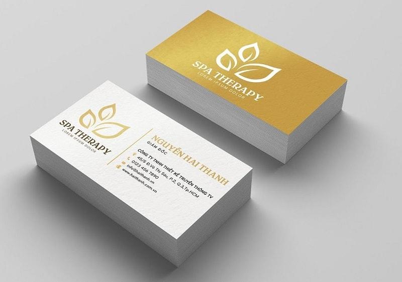 mẫu card visit spa vàng kim