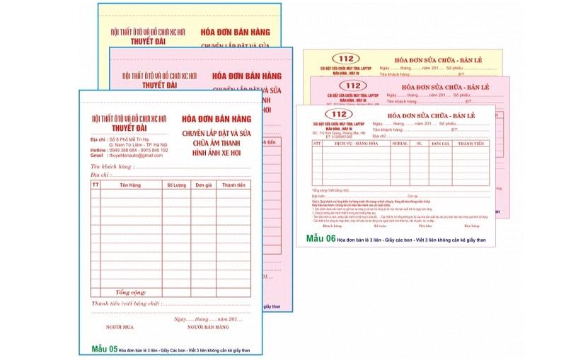 In hóa đơn bán lẻ 3 liên một cuốn 150 tờ