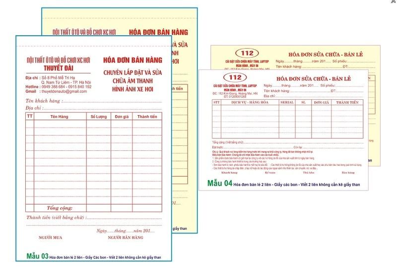 Mẫu in hóa đơn bán lẻ 2 liên cty thuyết đài