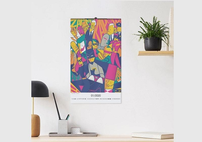 mẫu lịch treo tường hình hoạt hình batman vui nhộn