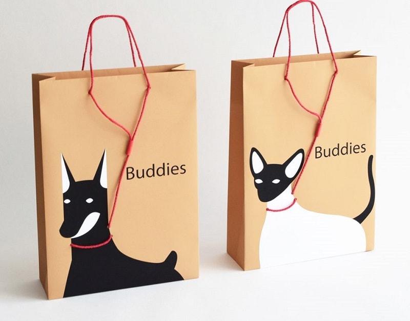 mẫu túi giấy hình chú chó sáng tạo
