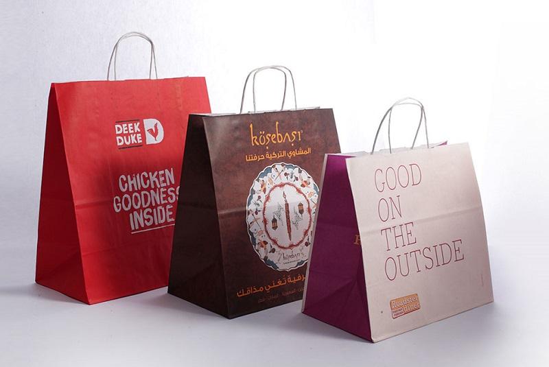 mẫu túi giấy đựng thực phẩm đỏ tím
