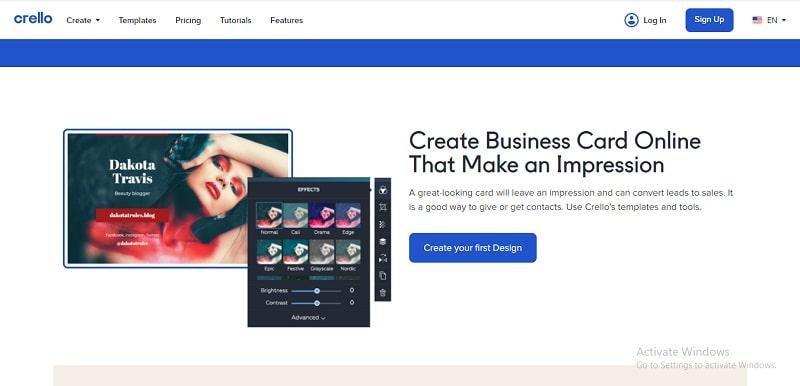 công cụ thiết kế name card online crello