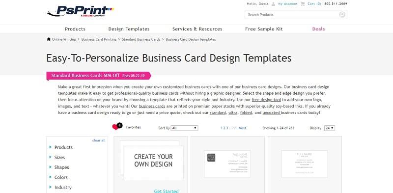 psprint công cụ thiết kế name card online