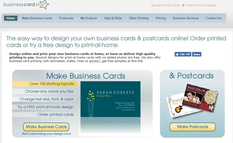 công cụ thiết kế name card online star