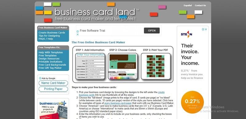 công cụ thiết kế name card online land
